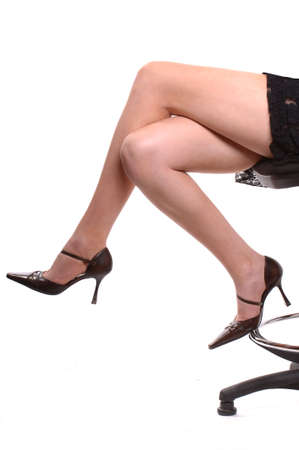 Fashion model indoor studio leg shot photo