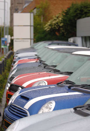Cars lined up in a row Stock Photo - 7991202