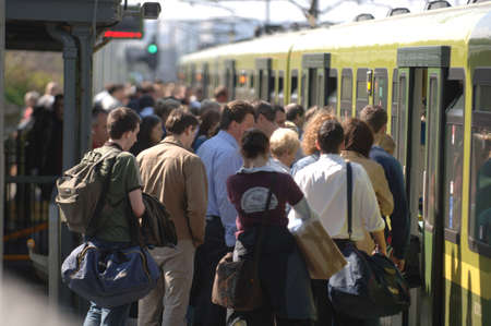 Commuters boarding train  metro South Dublin