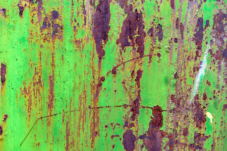 Detail of green painted, old, metal, rusty doors. Grunge texture of green rusty metal with scratches