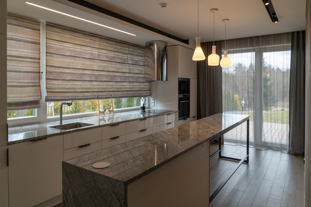 Modern beautiful kitchen with home furnishings