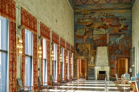 Interior of Festival Gallery in Oslo City Hall with fresco