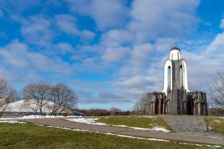 Minsk, Belarus - January 1, 2020: the chapel in the memorial complex  Island of Tears on River Svislach artificial island. A monument dedicated to fallen Belarusian soldiers in Afghanistan war