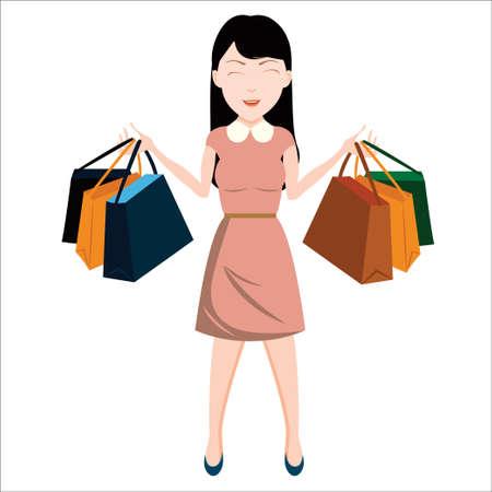 Illustrazione delle donne shopping Archivio Fotografico - 61008459