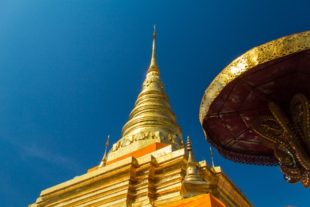 Gold stu pa in thailand  Stock Photo