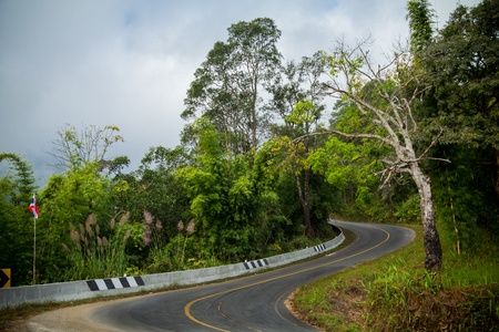 Curve road on mountain photo