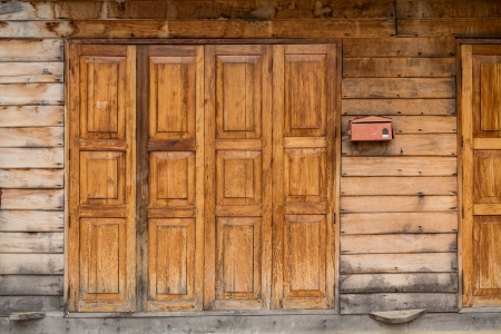 Folding wooden Door thai style, vintage door photo