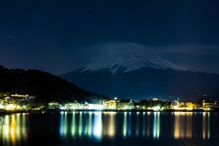 Mount Fuji and Lake Yamanaka at night  photo