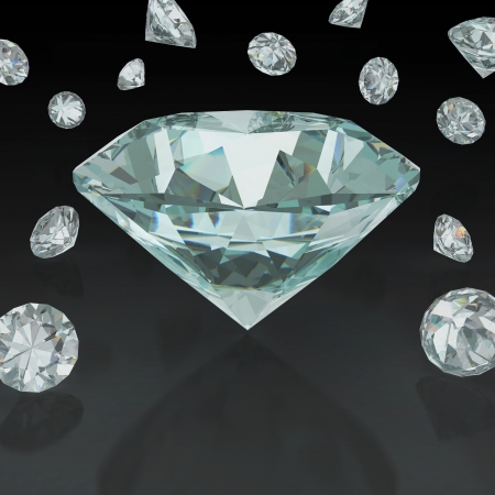 3D illustration of diamond on black background