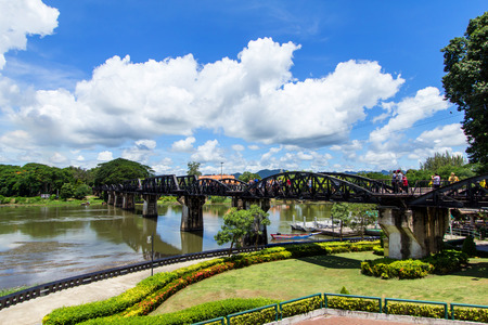 Bridge over the River Kwai on the sky  Kanchanaburi , Thailand photo