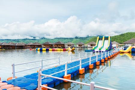 floating bridge: Floating pontoon style puzzle  Editorial