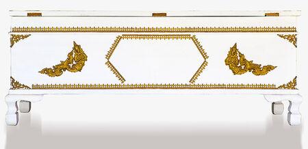 thai motifs: White wooden coffin