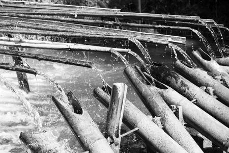 bamboo fountain: Rails of bamboo fountain Zen garden decoration