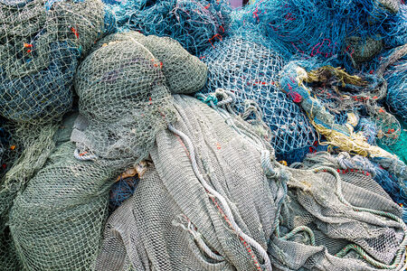mess: Fishing nets pattern mess stacked at port