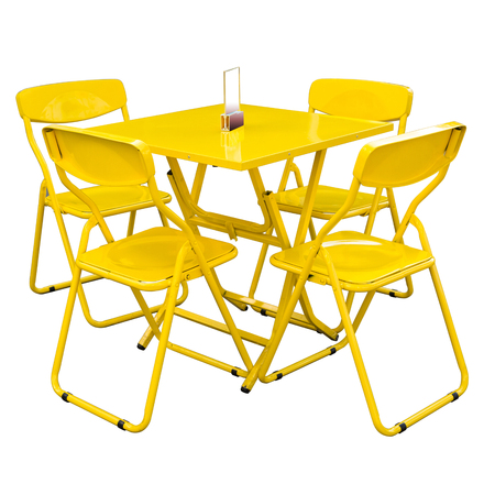 yellow metal cafe table and chairs outdoors on white.with clipping part. photo