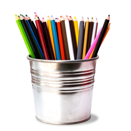 Colorful pencils in pail on white.with clipping part. photo