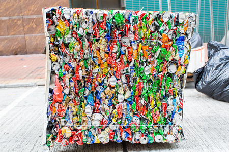 crushed aluminum cans: Waste management, recycling of the Hong Kong Special Administrative Region. on September 22, 2013 in Mong Kok, Hongkong.