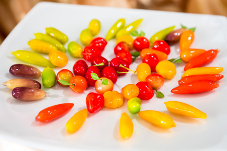 delectable: Delectable imitation fruits on table Thai traditional dessert. Stock Photo