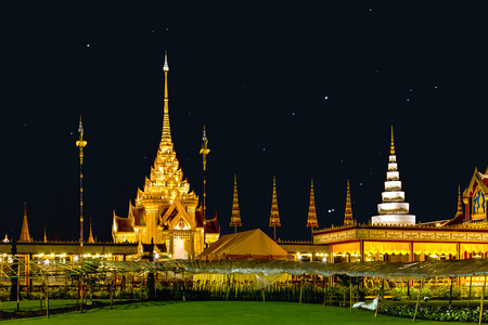 pyre: The royal funeral pyre of princess at the night, Thailand