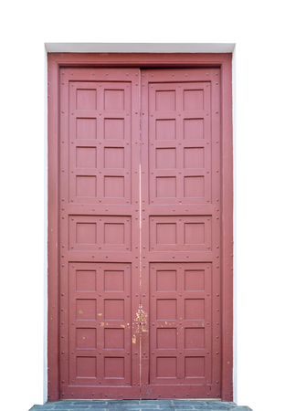 large doors: Big Red ancient door made from wood. Stock Photo