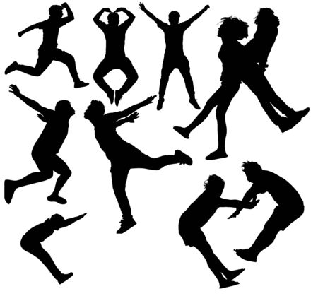 exaltation: Illustration of people jumping-silhouettes