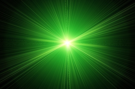 light reflex: green lens flare effect over black background Stock Photo