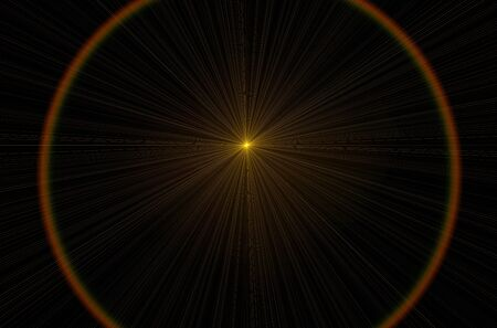 bask: yellow lens flare effect over black background Stock Photo