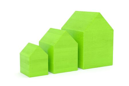 Set of green wooden houses over white isolated background