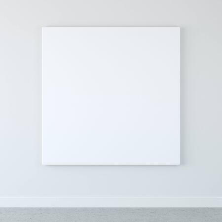 canvas: Blank wall art on white wall Stock Photo