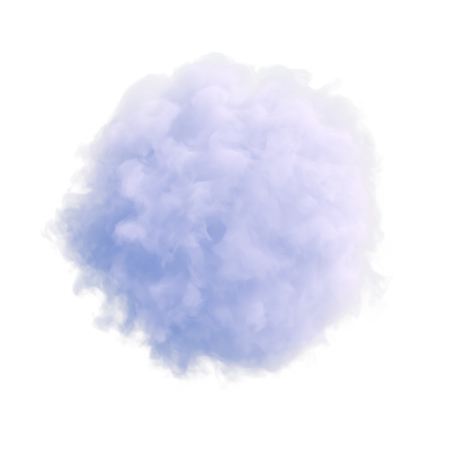 Single separated blue cloud-like thing on white isolated background