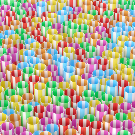 Sheaf of colored drinking straws Stockfoto