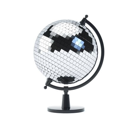 Discoball globe on a stand on white isolated backround