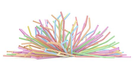 Falling drinking straws isolated on white Stockfoto