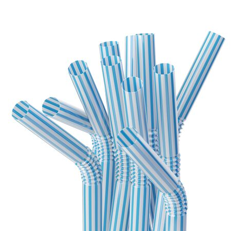 a straw: Set of drinking straws isolated on white Stock Photo