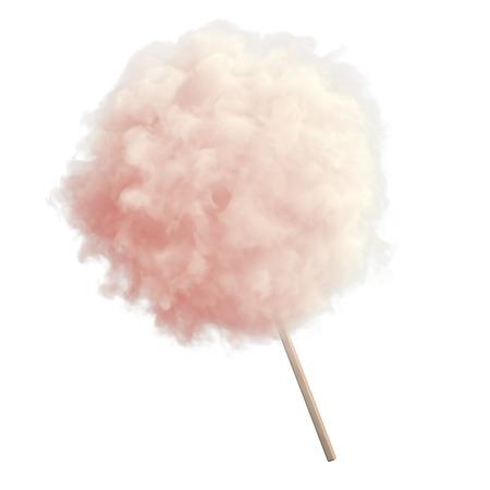 golosinas: Algodón de azúcar rosa en el fondo aislado apaisada