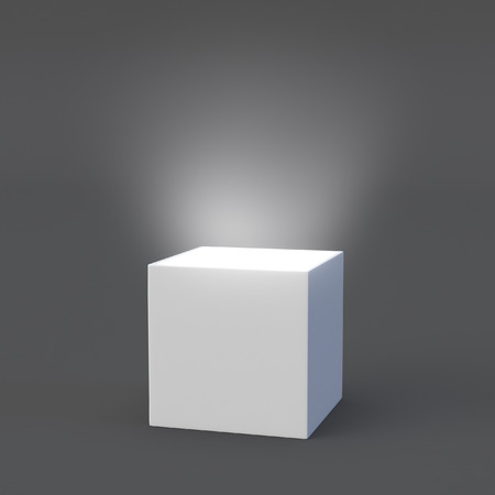 Blank gift box with light inside over gray background