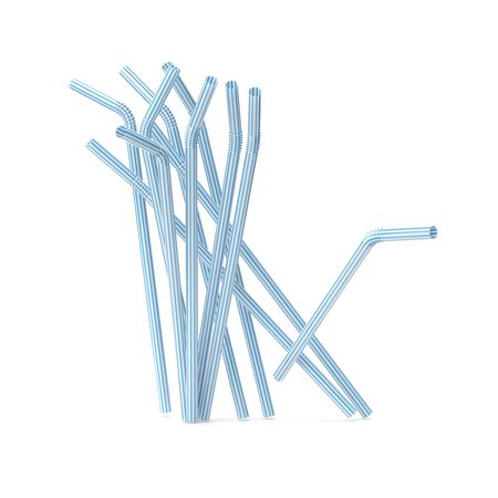 Set of drinking straws isolated on white Stockfoto