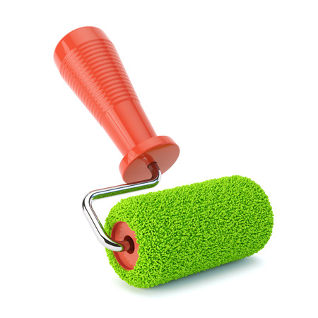 green paint: Green paint roller isolated Stock Photo