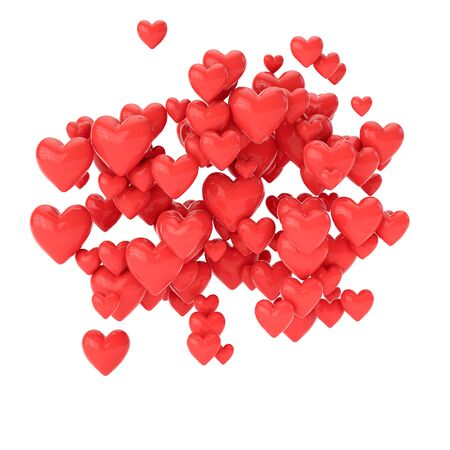 Group of 3d hearts in the air