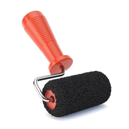 Black paint roller isolated
