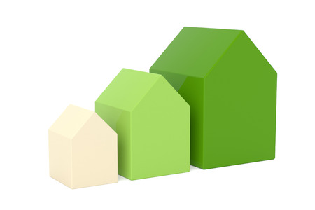 wooden houses: Set of wooden houses over white isolated background Stock Photo