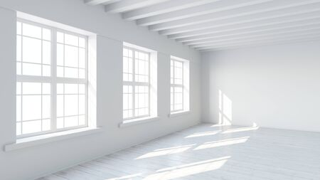White interior with windows and wooden floor, filled with sunlight and empty space Stockfoto