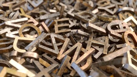 Bunch of old rusty metal letters 3D render Stockfoto