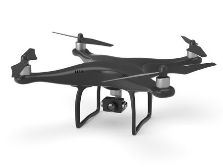Black drone with action 4k camera isolated on white background.