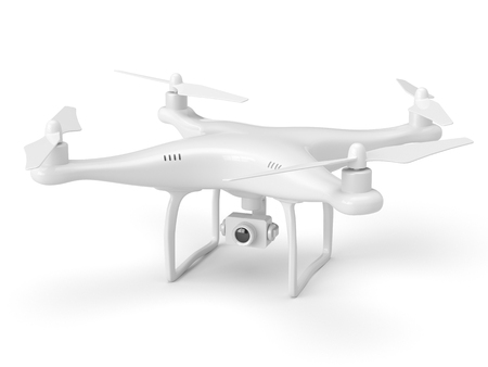 White drone with action 4k camera isolated on white background. Stockfoto