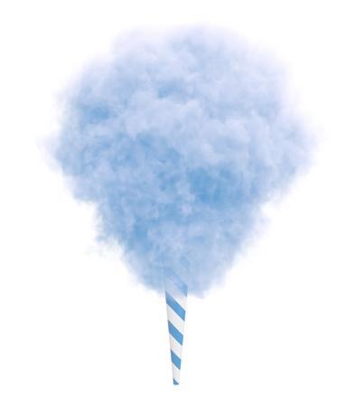 Blaue Zuckerwatte auf einem gestreiften Stock isoliert auf weißem Hintergrund.