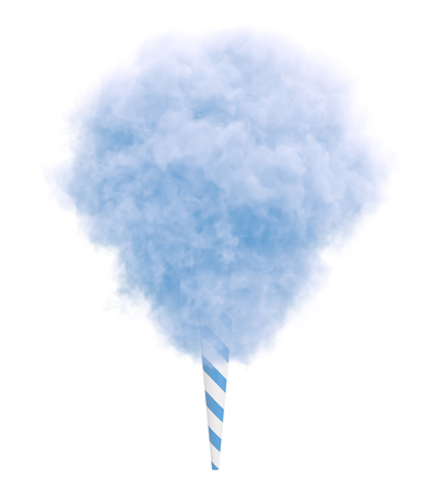 Blue cotton candy on a striped stick isolated on white background.