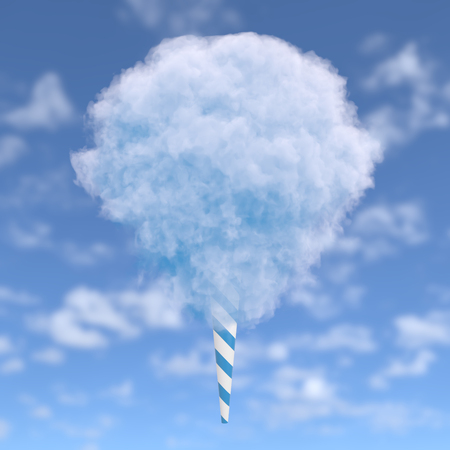 Blue cotton candy on a striped stick over blue sky with clouds