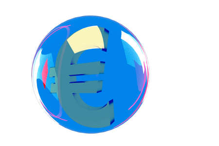 Glass globe with EURO sign, 3d illustration