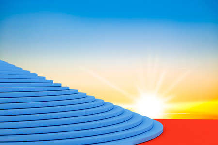 Staircase with with number one and red carpet, 3d-illustration